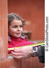 Little girl on housing site
