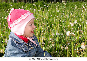 Little  girl on meadow