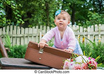 Little girl on suitcase