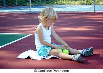 Little Girl on Tennis Court