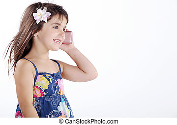 little girl on the phone