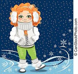 little girl on the winter backgroun