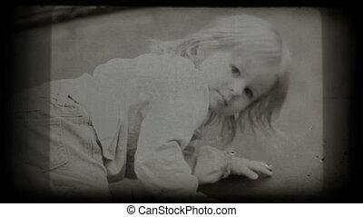 Little girl on trampoline, vintage