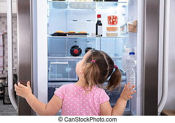 Little Girl Opening Fridge Door Looking Inside