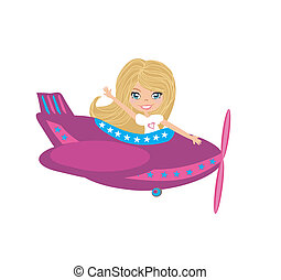 Little girl Operating a Plane
