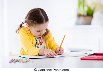Little girl painting and writing - Cute little girl doing ...