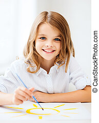 education, school, art and painting concept - little student girl painting at school