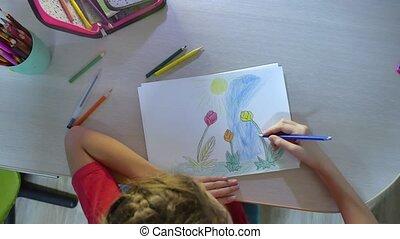 Little girl painting at table. paint schoolgirls girl...