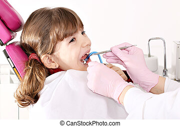 little girl patient dental exam