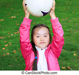 little girl paying in park - Cute little girl paying in the...