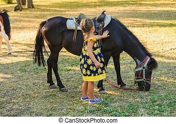 little girl pet pony horse outdoor in park