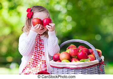Little girl picking apples in fruit orchard - Child picking...