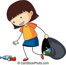 Little girl picking up trash illustration