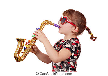 little girl play music - little girl with sunglasses play...
