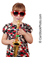 little girl play music