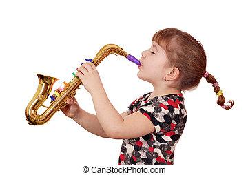 little girl play saxophone