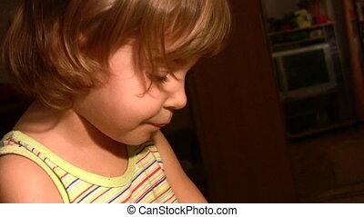 Little girl play talk