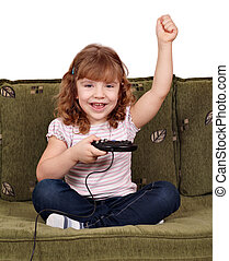 little girl play video games and wins