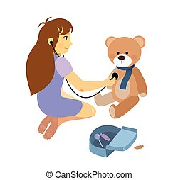 little girl playing a doctor with plush teddy bear