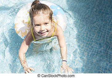 Little girl playing at swimmingpool - Adorable little girl...