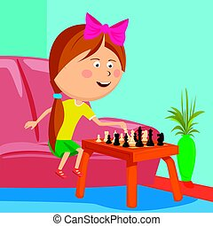 little girl playing chess sitting on sofa in room