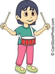 Little girl playing drum cartoon