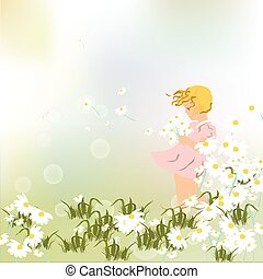 Little girl playing in a field of chamomile
