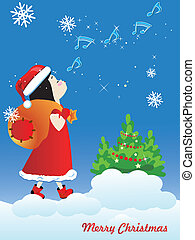 Little girl playing Santa Claus, carrying a broken bag with gifts