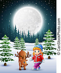little girl playing with a deer in the snowy garden at night