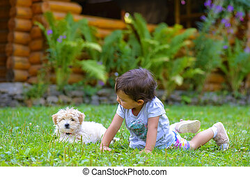 Little girl playing with a little puppy