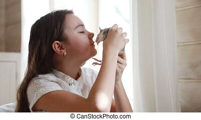 Little girl playing with a pet rat at home