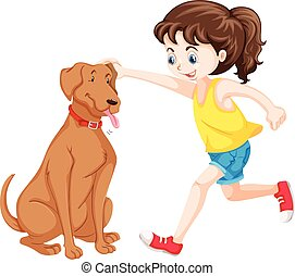 Little girl playing with dog pet