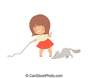 Little Girl Playing with Her Cat Using Ball of Yarn Vector Illustration