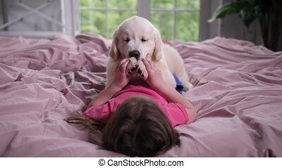 Little girl playing with puppy pet lying on bed - Playful...