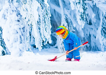 Little girl playing with snow in winter - Little girl ...