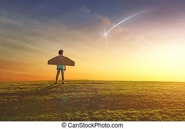 girl plays astronaut