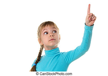 Little girl pointing her finger up, isolated on white landscape