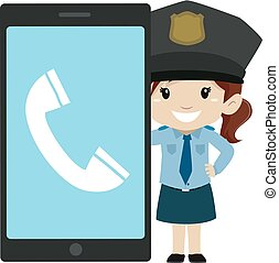 Little Girl Police beside a Big Screen Mobile Phone - Vector...