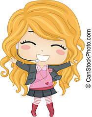 Little Girl Pop Star 2 - Illustration of a Little Girl Pop...