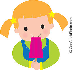 Little Girl Popsicle - This is a very colorful illustration,...