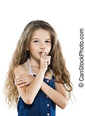 Little girl portrait ask silence