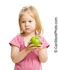 Little girl portrait eating green apple isolated
