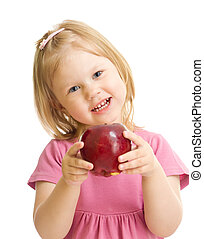 Little girl portrait eating red apple isolated