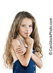 Little girl portrait hush sign