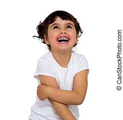 little girl washing teeth isolated on white