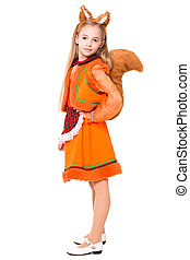 Little girl posing in a squirrel dress