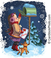 Christmas theme. A little girl and her puppy posting a letter to Santa. The vector art image is very well-organized in groups