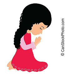 Little girl praying - Adorable little girl praying...