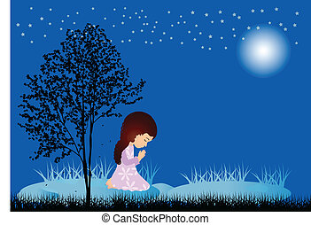 Little girl praying - Girl praying on blue background