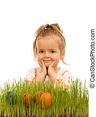 Little girl preparing for easter